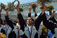 28/08/04 - ATHENS - GREECE -  - OLYMPIC FOOTBALL - FINAL MATCH - MENS  -  <br />ARGENTINA (1) Vs. PARAGUAY (0) At the Olympic Stadium in Athens. Argentine win the goal medal<br />Argentine players celebration. Here CARLOS TEVEZ.<br />© Gabriel Piko / Argenpress.com / Piko-Press
