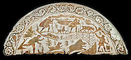 4th century Roman mosaic panel of a boar hunt from Cathage, Tunisia. The Bardo Museum, Tunis, Tunisia. Black background .<br /> <br /> If you prefer to buy from our ALAMY PHOTO LIBRARY  Collection visit : https://www.alamy.com/portfolio/paul-williams-funkystock/roman-mosaic.html - Type -   Bardo    - into the LOWER SEARCH WITHIN GALLERY box. Refine search by adding background colour, place, museum etc<br /> <br /> Visit our ROMAN MOSAIC PHOTO COLLECTIONS for more photos to download  as wall art prints https://funkystock.photoshelter.com/gallery-collection/Roman-Mosaics-Art-Pictures-Images/C0000LcfNel7FpLI