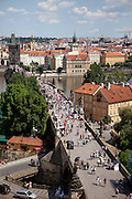 """Charles Bridge seen from the """"Lesser Town"""" (Mala Strana) side into direction of the Prague city center. On the right side Kampa Island."""