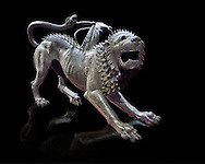 """Etruscan bronce statue of the mythical Chimera known as the  """"Chimera of Arezzo"""" from the St Lorentino Gate of Arezzo, made end of 5th - early 4th century B.C, inv no 1,  National Archaeological Museum Florence, Italy , black background .<br /> <br /> If you prefer to buy from our ALAMY PHOTO LIBRARY  Collection visit : https://www.alamy.com/portfolio/paul-williams-funkystock - Scroll down and type - Etruscan Florence - into LOWER search box. (TIP - Refine search by adding a background colour as well).<br /> <br /> Visit our ETRUSCAN PHOTO COLLECTIONS for more photos to download or buy as wall art prints https://funkystock.photoshelter.com/gallery-collection/Pictures-Images-of-Etruscan-Historic-Sites-Art-Artefacts-Antiquities/C0000GgxRXWVMLyc"""