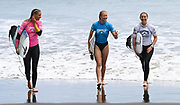Ava Henderson, Ella Williams and Saffi Vette.<br /> Finals of the Surfing New Zealand National Championships 2021. Piha Beach, Auckland, New Zealand. Saturday 16 January 2021.<br /> © image by Andrew Cornaga / www.Photosport.nz