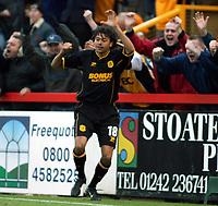 Photo. Chris Ratcliffe<br />Cheltenham v Hull. FA Cup Preliminary Round 08/10/2003<br />jason price celebrates his goal