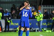 AFC Wimbledon midfielder Dylan Connolly (16) and AFC Wimbledon midfielder Anthony Wordsworth (40) celebrating during the EFL Sky Bet League 1 match between AFC Wimbledon and Peterborough United at the Cherry Red Records Stadium, Kingston, England on 12 March 2019.