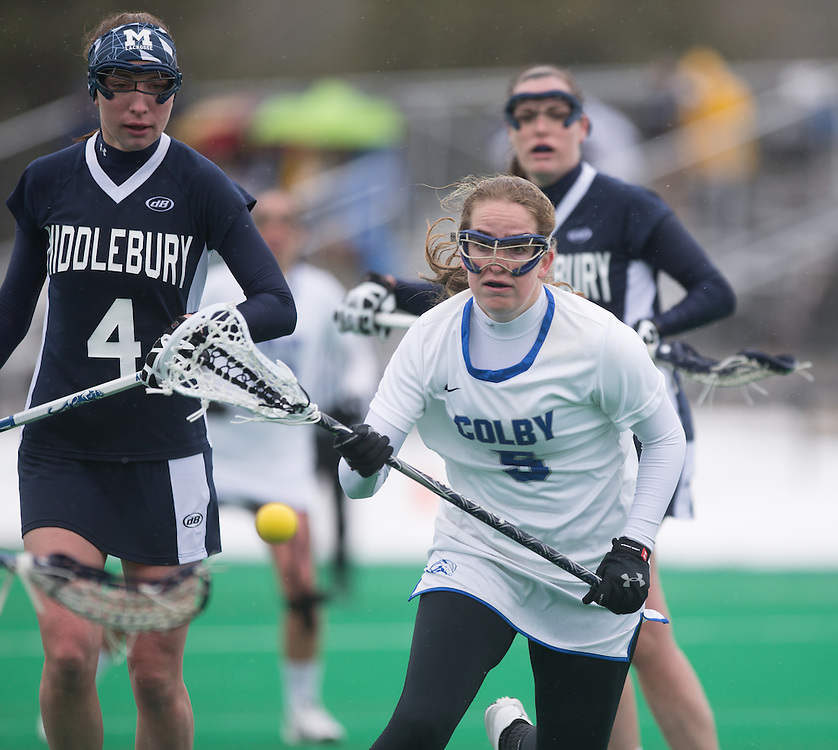 Maddie Hatch of Colby College, during a NCAA Division III women's lacrosse game against at Middlebury College on April 4, 2015 in Waterville, ME. (Dustin Satloff/Colby Athletics)