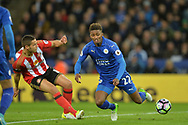 Demarai Gray of Leicester city ® battles with Jack Rodwell of Sunderland. Premier league match, Leicester City v Sunderland at the King Power Stadium in Leicester, Leicestershire on Tuesday 4th April 2017.<br /> pic by Bradley Collyer, Andrew Orchard sports photography.