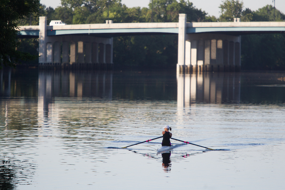 RUTHERFORD, NJ - JULY 25, 2015  <br /> Rowers along the Passaic River near the Nereid Boat Club in Rutherford.<br /> CREDIT: John O'Boyle for The New York Times