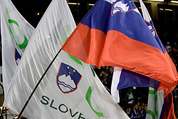 Slovenian flags before FIFA World Cup South Africa 2010 Qualifying Second Play off match between Slovenia and Russia, on November 18, 2009, in Stadium Ljudski vrt, Maribor, Slovenia. Slovenia won 1:0 and qualified for the FIFA World Championships 2010. (Photo by Vid Ponikvar / Sportida)
