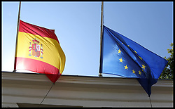 August 18, 2017 - London, United Kingdom - Spanish and European flags at half mast above the Spanish Embassy in London following the terror attacks killing 13 and wounding over 100 people in the busy tourist street of Las Ramblas, Barcelona on Thursday 17th August involving Islamic militants using a van in the terror attack.  (Credit Image: © Dinendra Haria/i-Images via ZUMA Press)