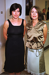 Left to right, sisters JANE & LOUISE WILSON, 1999 Turner Art Prize nominees, at an exhibition in London on 13th September 1999.MWG 7