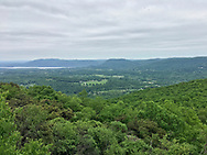 Cornwall, New York - A view of from Schunnemunk Mountain on May 28, 2018. The Hudson River and Storm King Mountain are visible in the distance.