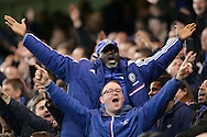 Chelsea fans celebrating during the 2nd half. The Emirates FA Cup, 5th round match, Chelsea v Manchester city at Stamford Bridge in London on Sunday 21st Feb 2016.<br /> pic by John Patrick Fletcher, Andrew Orchard sports photography.