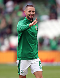 File photo dated 04-09-2021 of Republic of Ireland's Conor Hourihane gives a thumbs up before the 2022 FIFA World Cup Qualifying match at the Aviva Stadium, Dublin. Conor Hourihane has urged the Republic of Ireland to use a hugely encouraging week as a watershed moment as they target a World Cup qualifier victory over Portugal next month. Issue date: Wednesday October 13, 2021.