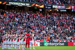 24-05-2017 SWE: Final Europa League AFC Ajax - Manchester United, Stockholm<br /> Finale Europa League tussen Ajax en Manchester United in het Friends Arena te Stockholm / Ajax met 1 minuut stilte voor de slachtoffers in Manchester