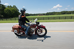 Hans Coertse riding his 1924 Indian Scout during Stage 3 of the Motorcycle Cannonball Cross-Country Endurance Run, which on this day ran from Columbus, GA to Chatanooga, TN., USA. Sunday, September 7, 2014.  Photography ©2014 Michael Lichter.