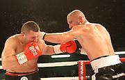 Boxing: Cruiserweight, WBO European Championship, Nuri Seferi (ALB) - Tamas Lodi (HUN), Hamburg, 16.05.2014<br /> Nuri Seferi (ALB, l.) - Tamas Lodi (HUN)<br /> ©Torsten Helmke