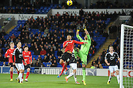 Cardiff City's Fraizer Campbell challenges Southampton's goalkeeper Paulo Gazzaniga for a high cross during the Barclays Premier league, Cardiff city v Southampton at the Cardiff city Stadium in Cardiff,  South Wales on Boxing day, Thursday 26th Dec 2013. <br /> pic by Jeff Thomas, Andrew Orchard sports photography.