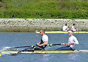 Reading. United Kingdom. GBR M2-, Bow. Alex GREGORY and Mo SBIHI, morning time trial, Redgrave and Pinsent Rowing Lake. Caversham.<br /> <br /> 11:04:54  Saturday  19/04/2014<br /> <br />  [Mandatory Credit: Peter Spurrier/Intersport<br /> Images]