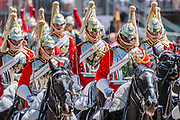 The Household Cavalry and Kings Troop Royal Horse Artillery march past in slow and quick time - The parade on Horse Guards - His Royal Highness the Duke of York reviews the final rehearsal for the Trooping the Colour on Horseguards Parade and the Mall.