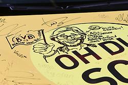 19.09.2015, Messe Frankfurt, Frankfurt am Main, GER, IAA 2015, im Bild als Zeichnung verewigt auf einem speziellen BVB Adam, Opel Markenbotschafter und Ex-Trainer von Borussia Dortmund Jürgen Klopp // former Dortmund Coach Juergen Klopp during the The International Motor Show IAA at the Messe Frankfurt in Frankfurt am Main, Germany on 2015/09/19. EXPA Pictures © 2015, PhotoCredit: EXPA/ Eibner-Pressefoto/ Roskaritz<br /> <br /> *****ATTENTION - OUT of GER*****
