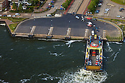 Nederland, Zuid-Holland, Maassluis, 23-05-2011; pontveer tussen Maassluis en Rozenburg over de Nieuwe Waterweg..Ferry between Maassluis and Rozenburg over the Nieuwe Waterweg..luchtfoto (toeslag), aerial photo (additional fee required).copyright foto/photo Siebe Swart