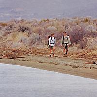 Hikers in sagebrush and rabbit brush by Washoe Lake, near Reno, Nevada.