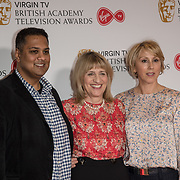 Krishnendu Majumdar, Jane Lush and Hannah Wyatt attend the Virgin TV BAFTA TV Nominations Press Conference, London, UK - 04 April 2018 at BAFTA, Piccadilly, London, UK.