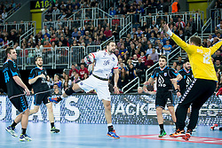 Igor Vori #9 of Paris Sant-Germain and Ivan Stevanovic #12 of PPD Zagreb during handball match between PPD Zagreb (CRO) and Paris Saint-Germain (FRA) in 11th Round of Group Phase of EHF Champions League 2015/16, on February 10, 2016 in Arena Zagreb, Zagreb, Croatia. Photo by Urban Urbanc / Sportida
