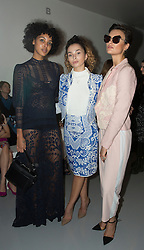 (left to right ) Arlissa, Ella Eyre and Wallis Day on the front row during the Bora Aksu Autumn/Winter 2017 London Fashion Week show at BFC Show Space, London. PRESS ASSOCIATION. Picture date: Friday February 17, 2017. Photo credit should read: Isabel Infantes/PA Wire