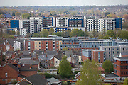 There are several large new hosing blocks near the city centre that have become student accommodation for students living in central Coventry on the 28th of April 2021, Coventry, United Kingdom. Coventry is a popular university city with Warwick University and Coventry City University close by, it has also been nominated the UK City of Culture for 2021.