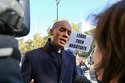 © Licensed to London News Pictures. 18/10/2019. London, UK. CHUKA UMUNNA MP for Streatham speaking with the media outside Cabinet Office before the crunch Brexit debate and vote on Saturday 19 Oct 2019.  Photo credit: Dinendra Haria/LNP