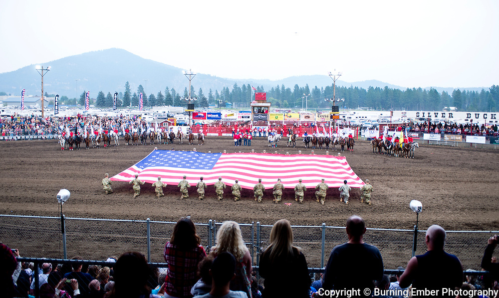 Opening flag ceremonies during the opening at the Gem State Stampede August 25th, 2018 2nd perf in Couer D'Alene ID.  Photo by Josh Homer/Burning Ember Photography.  Photo credit must be given on all uses.