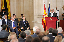 24.06.2015, Palacio Real, Madrid, ESP, Festakt zu 30 Jahre EU Mitgliedschaft Spaniens, im Bild Martin Schulz President of the European Parliament (r) in presence of King Felipe VI of Spain (c) and King Juan Carlos (l) during // attends the 30th Anniversary of Spain being part of European Communities at the Palacio Real in Madrid, Spain on 2015/06/24. EXPA Pictures © 2015, PhotoCredit: EXPA/ Alterphotos/ POOL/ Ricardo Garcia<br /> <br /> *****ATTENTION - OUT of ESP, SUI*****