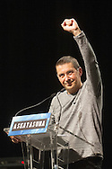 Basque politician Arnaldo Otegi raises his fist  as he addresses a tribute meeting of thousands of people organized by Sortu pro-indpendence party, four days after he left prison. Donostia (Basque Country). March 5, 2016. Arnaldo Otegi is a politician, member of the Basque patriotic left movement, who was arrested in 2009, acused of trying to rebuild outlawed Batasuna pro-independence party, and was given a ten year sentence. In may 2012 Otegi's sentence was reduced to 6 1/2 years by the Spanish Supreme Court, as they decided he was not part of ETA. (Gari Garaialde / Bostok Photo)