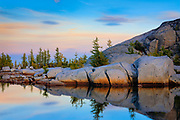 Boulders along lake in the Enchantment Lakes area of the Alpine Lakes Wilderness, Washington