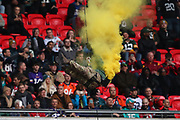 A Royal Marine Commando abseils into the stadium during the NFL game between Houston Texans and Jacksonville Jaguars at Wembley Stadium in London, United Kingdom. 03 November 2019