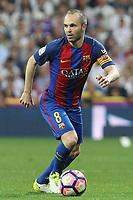 Andres Iniesta of FC Barcelona during the match of La Liga between Real Madrid and Futbol Club Barcelona at Santiago Bernabeu Stadium  in Madrid, Spain. April 23, 2017. (ALTERPHOTOS)