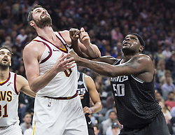 December 27, 2017 - Sacramento, CA, USA - The Sacramento Kings' Zach Randolph (50) defends the Cleveland Cavaliers' Kevin Love (0) under the basket on Wednesday, Dec. 27, 2017, at Golden 1 Center in Sacramento, Calif. (Credit Image: © Hector Amezcua/TNS via ZUMA Wire)