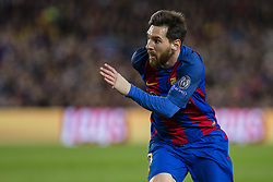 April 19, 2017 - Barcelona, Spain - Leo Messi of FC Barcelona during the UEFA Champions League Quarter Final second leg match between FC Barcelona and Juventus at Camp Nou Stadium on April 19, 2017 in Barcelona, Spain. (Credit Image: © NurPhoto via ZUMA Press)