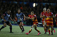 Hallam Amos of the Dragons (c). Guinness Pro14 rugby match, Cardiff Blues v Dragons at the Cardiff Arms Park in Cardiff, South Wales on Friday 6th October 2017.<br /> pic by Andrew Orchard, Andrew Orchard sports photography.