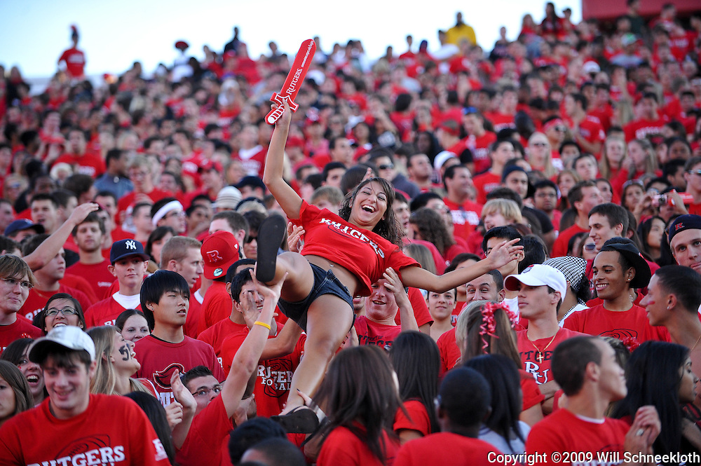Sep 19, 2009; Piscataway, NJ, USA; Fans celebrate a Rutgers touchdown in the stands during the first half of NCAA college football between Rutgers and Florida International at Rutgers Stadium.