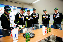 Robert Kranjec, Peter Prevc, Jernej Damjan, Jure Sinkovec, Dejan Judez and Jurij Tepes at press conference of Slovenian Nordic Ski Jumping team after they placed third in team competition at World Cup in Harrachov (CZE), on December 13, 2011 in SZS, Ljubljana, Slovenia. (Photo By Vid Ponikvar / Sportida.com)