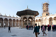 Courtyard (sahn), Clock Tower and Ablution Fountain of the Mosque of Muhammad Ali, Al Abageyah, El-Khalifa, Cairo Governate, Egypt.