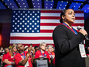 10 AUGUST 2019 - DES MOINES, IOWA: A survivor of gun violence asks Sen. Kirsten Gillibrand a question about gun safety legislation. Several thousand people from as far away as Milwaukee, WI, and Chicago, came to Des Moines Saturday for the Presidential Gun Sense Forum. Most of the Democratic candidates for president attended the event, which was organized by Moms Demand Action, Every Town for Gun Safety, and Students Demand Action.     PHOTO BY JACK KURTZ