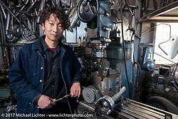 """Takuya """"Taku"""" Aikawa at his Sure Shot Motorcycles. Chiba Prefecture, Japan. Saturday December 9, 2017. Photography ©2017 Michael Lichter."""
