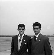 23/05/1957<br /> 05/23/1957<br /> 23 May 1957<br /> F.A.I. Youths team for tour of Germany.<br /> (left) Maurice Swan (Drumcondra); (right) Michael White (St Brendans).