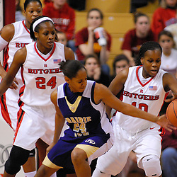 Dec 11, 2008; Piscataway, NJ, USA; Rutgers guard Epiphanny Prince (10) strips the ball from Prairie View A&M guard Candice Thomas during the second half of Rutgers' 58-56 victory at the Louis Brown Athletic Center.