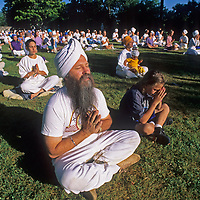 American Sikhs and their children attend a morning prayer vigil outside a temple near Santa Fe, New Mexico.