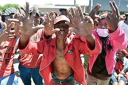 South Africa - Senekal - 16 October 2020. EFF supporters protesting during the appearace of the two accused in the murder of Brendin Horner.<br /> Picture: Oupa Mokoena/African News Agency (ANA)