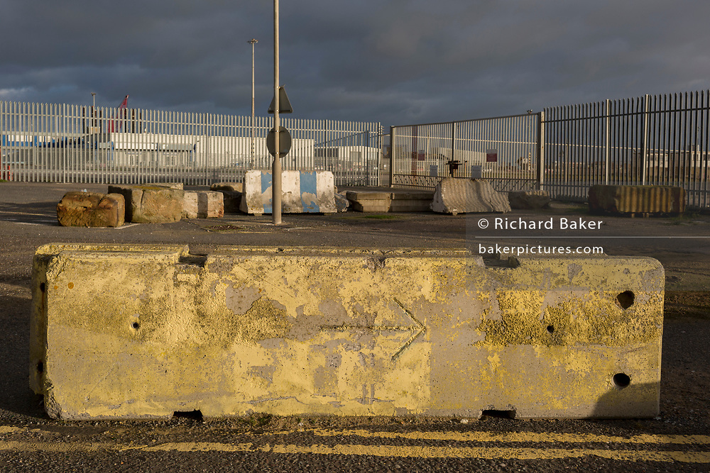 Landscape on the perimeter of the Port of Ramsgate, a closed but once busy ferry terminal, on 8th January 2019, in Ramsgate, Kent, England. The Port of Ramsgate has been identified as a 'Brexit Port' by the government of Prime Minister Theresa May, currently negotiating the UK's exit from the EU. Britain's Department of Transport has awarded to an unproven shipping company, Seaborne Freight, to provide run roll-on roll-off ferry services to the road haulage industry between Ostend and the Kent port - in the event of more likely No Deal Brexit. In the EU referendum of 2016, people in Kent voted strongly in favour of leaving the European Union with 59% voting to leave and 41% to remain.
