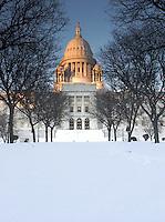 Winter Sunset Alpenglow on Rhode Island State Capitol, Providence, Rhode Island